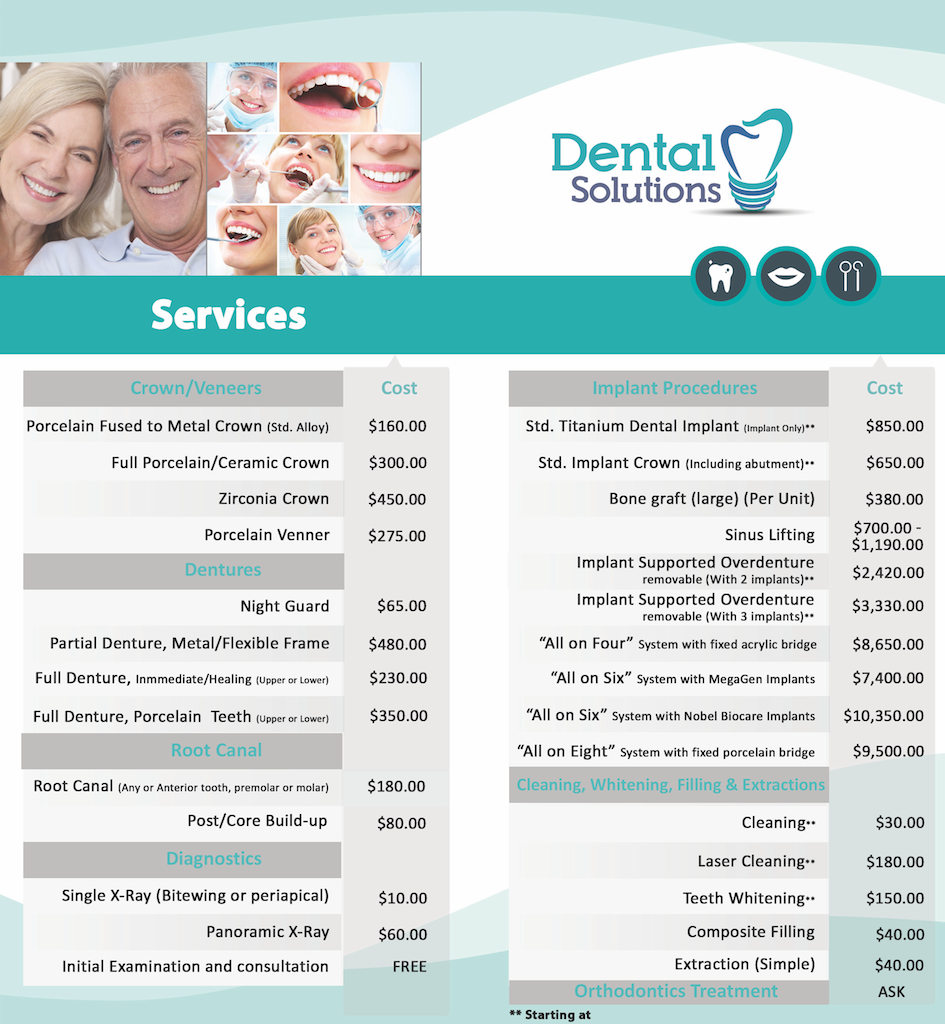 Dental Price List Ask For Insurance Prices Dental